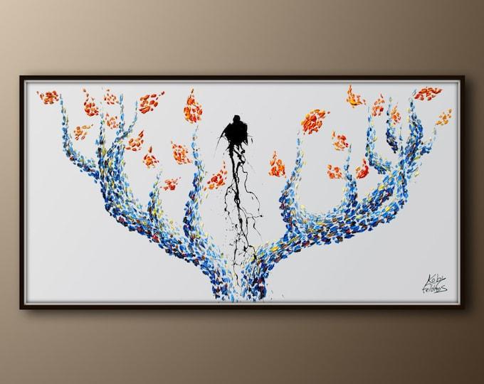 "Tree painting 55""  very calming colors, Original oil painting, by Koby Feldmos"
