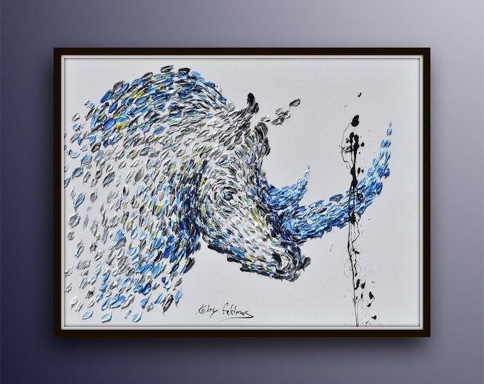 "Rhino painting 40"" original oil painting on canvas, rhinoceros, oil painting beautiful thick layers, KOby Feldmos"