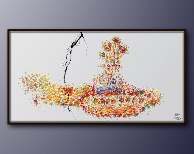 """Painting 67"""" Beatles Yellow Submarine Original oil painting on canvas, Extremely unique, modern style handmade by Koby Feldmos"""