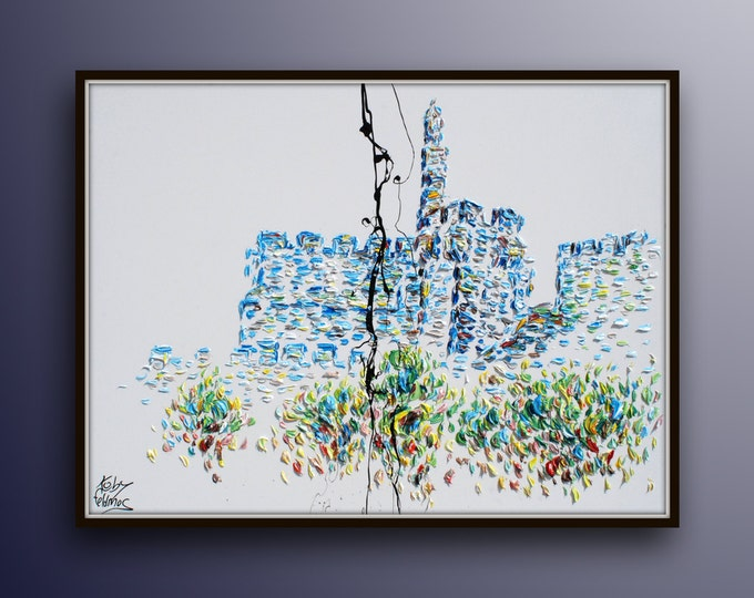 """40"""" Jerusalem Israel King David Tower, Oil on canvas, thick layers, blue green colors,  By Koby Feldmos"""