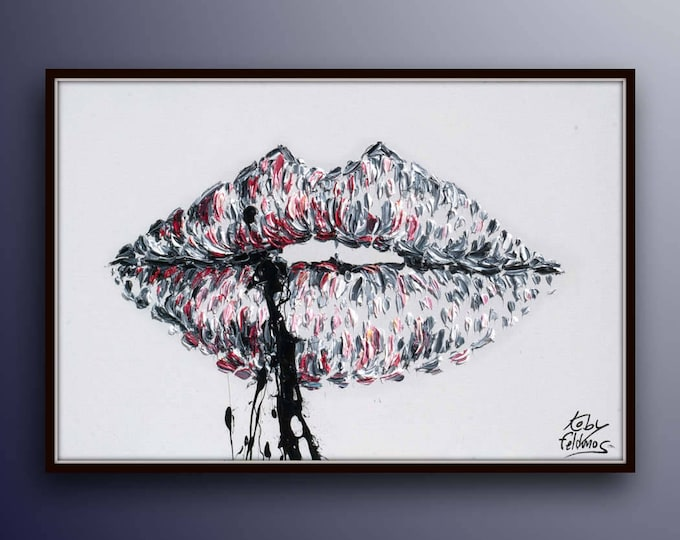 """Black white painting 40"""" lips in touches of red pink, beautiful female sexy alluring lips of woman, thick oil paint layers,  by Koby Feldmos"""
