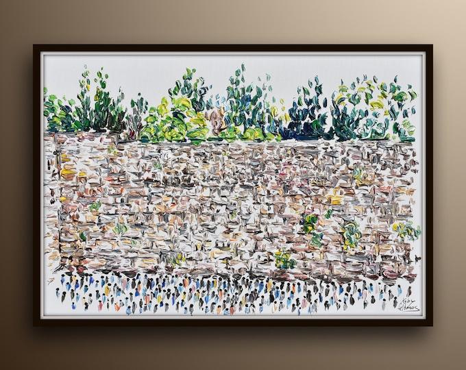 "Western wall 40"" wailing wall kotel, original oil painting, jewish art, judaism, religious art old city Jerusalem, by Koby Feldmos"