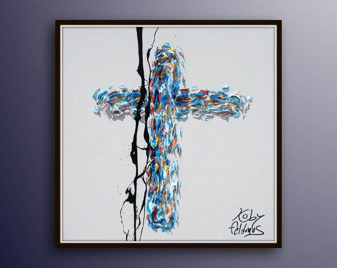 """Cross 25"""" oil painting on canvas, biblical art, jesus cross, Christian painting, religious art, ready to hang, by Koby Feldmos"""