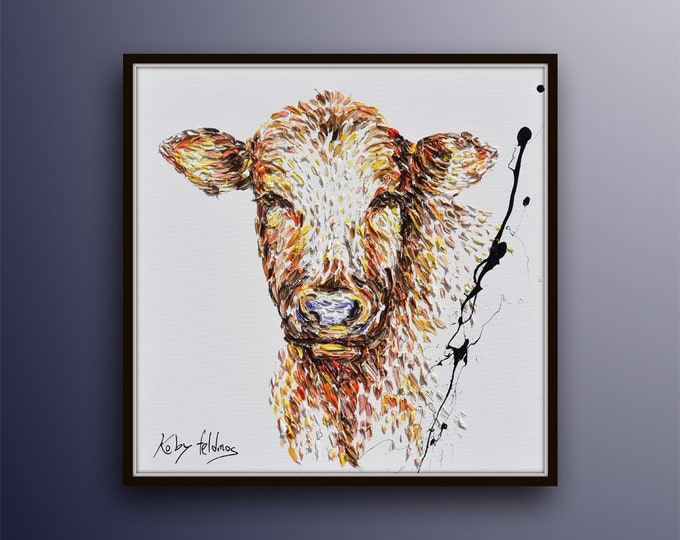 """Cow painting 35"""" thick beautiful layers, handmade painting, oil painting on canvas, hot tones, modern style by Koby feldmos"""