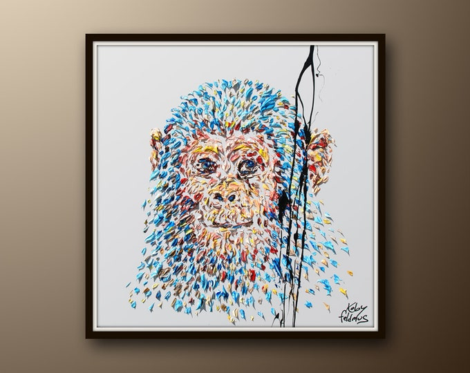 """Painting 35"""" Smart Monkey Painting, animal painting , Original Handmade oil painting on canvas, ready to hang, express ship, By Koby Feldmos"""
