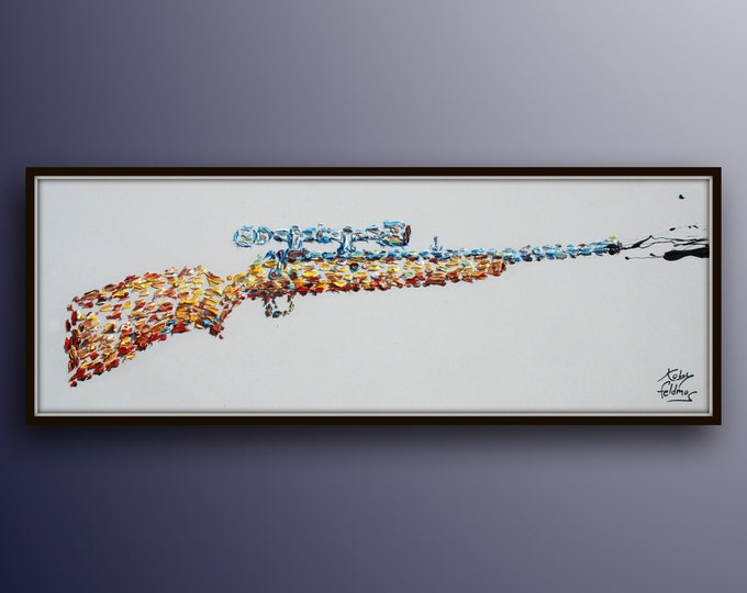 """Painting 60"""" Shooting Rifle , thick oil paint impasto style modern Art on canvas , Express shipping worldwide, By Koby Feldmos"""