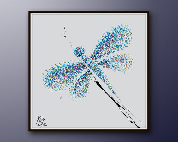 """Dragonfly 35"""" Abstract Painting Animal Painting Original Oil Painting of a Dragonfly, Modern Style, Express Shipping, By Koby Feldmos"""
