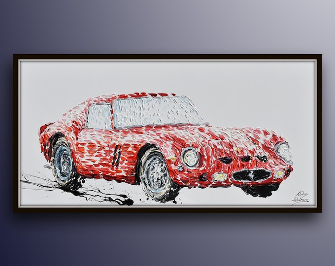 """Ferrari GTO 250 , 67""""x34"""" , Most expensive car ever sold (50m) , beautiful thick layers, original paitning, modern looks, by Koby Feldmos"""