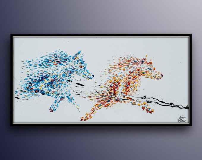 """Painting 55"""" Wolf Painting Beautiful warm and cold colored wolfs running Animal Abstract Painting , Original l painting By Koby Feldmos"""