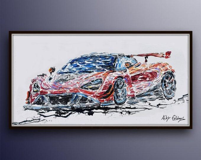 """Race car 55"""" , original oil painting on canvas, sports car, oil on canvas, by Koby Feldmos"""