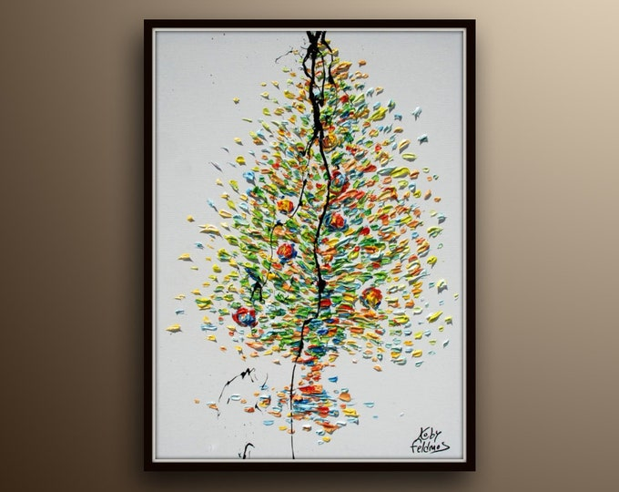 """Tree 40"""" - Original Hand made Oil painting on canvas 32"""" X 24"""" Can be shipped stretched (ready to hang) Koby Feldmos"""