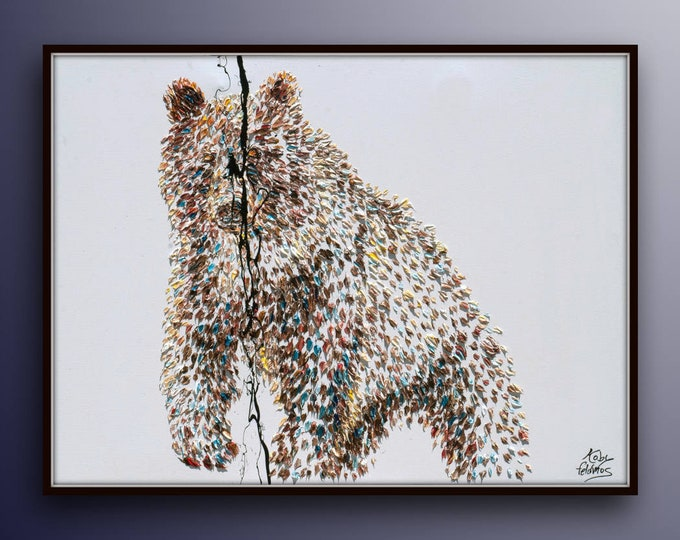 """Brown Grizzly 40"""" Bear animal brown painting original oil painting by Koby Feldmos"""