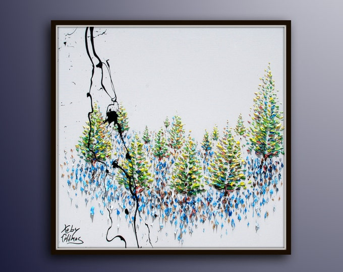 """Forest 35"""" painting, oil on canvas, original painting, Modern style pointillism, Koby Feldmos"""