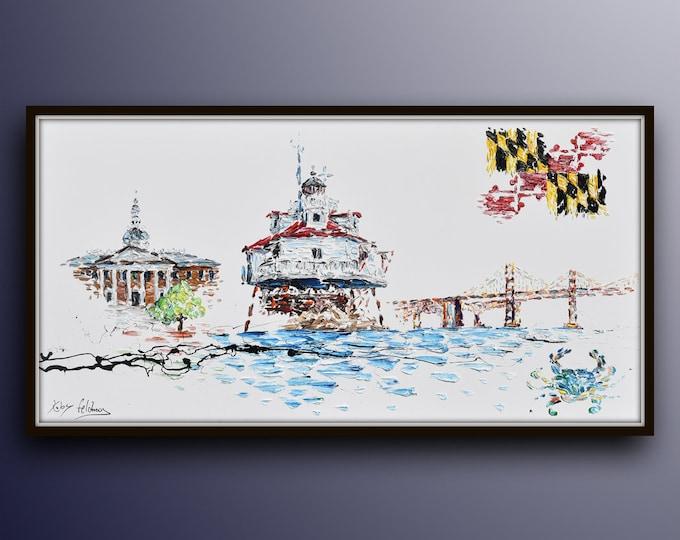 """Maryland 67"""" Skyline, Beautiful painting of maryland symbols, Maryland flag, bridge, state house & lighthouse, Chesapeake blue crab"""