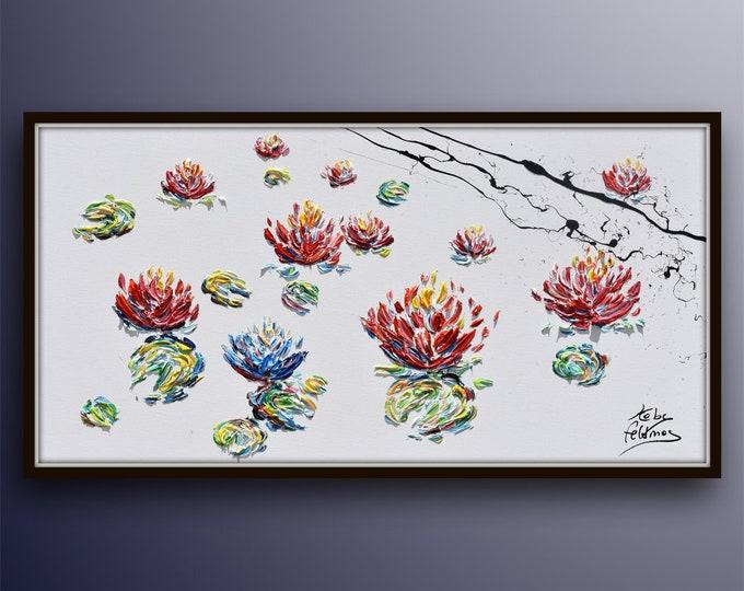 """Painting Lotus 55"""" Original oil painting of lotus flowers in water, handmade paintings, Amazing !!, Modern art, By Koby Feldmos"""