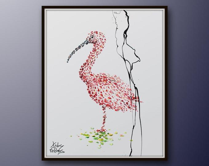 "Bird 30"" Animal Painting, original artwork on canvas, handmade painting, contemporary art by Koby Feldmos"
