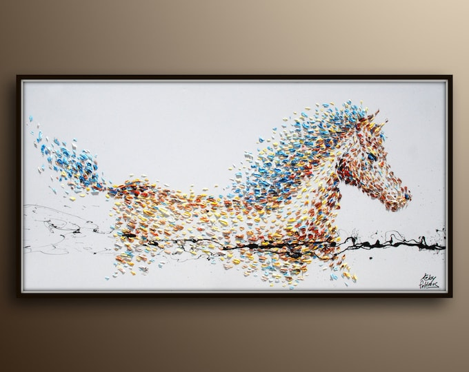 """Painting 67""""  Horse Painting Animal , Original handmade oil painting on canvas, Modern Style, Express Shipping Worldwide, By Koby Feldmos"""