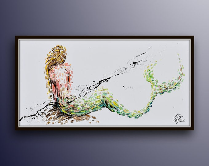 "Mermaid painting 55"" legendary aquatic creature, female women body, Thick luxurious layers, Amazing original Painting By Koby Feldmos"