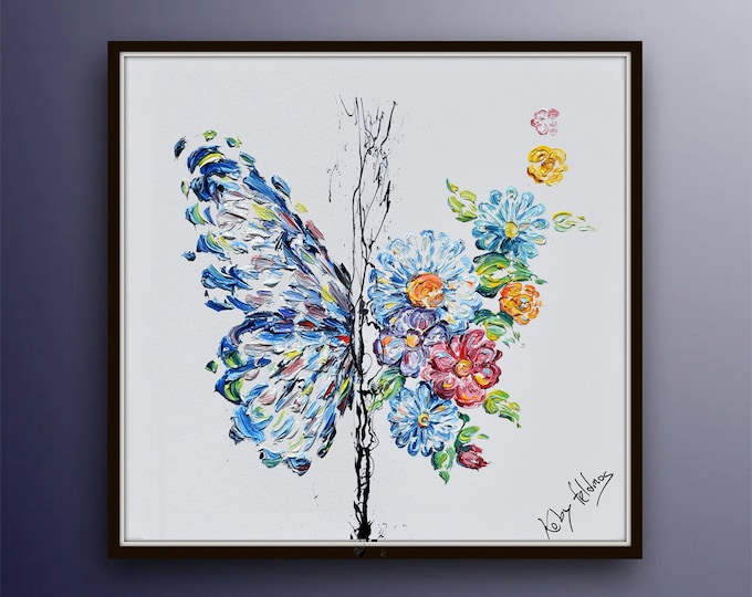 """Outrageous beautifully !!! Spring Butterfly 35"""" , original oil painting on canvas, colorful flowers, by Koby Feldmos"""