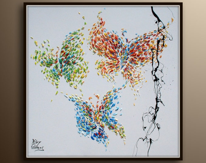 """Butterfly painting 35"""" Oil Painting of 3 Beautiful butterflies Pastel Oil Colors on canvas, Original Artwork handmade By Koby Feldmos"""