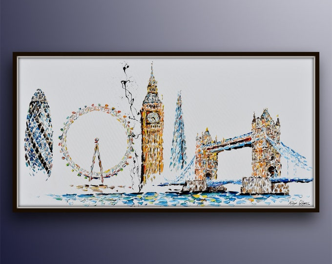 """London Skyline painting 55"""" - original oil painting on canvas, thick oil paint layers, beautiful  composition, art collage, Koby Feldmos"""