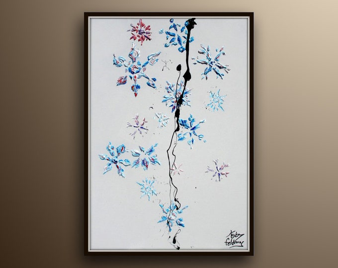 """SnowFlakes 30"""" Perfect Christmas gift, Beautiful relaxing shades of purple and blue, winter painting, By Koby Feldmos"""