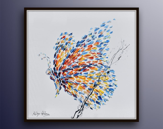"""Spring Butterfly 35"""" Original Handmade Oil Painting on canvas , Thick Luxurious texture, vivid beautiful colors, by Koby Feldmos"""