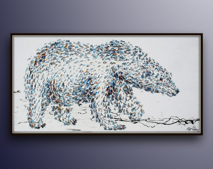 """Polar Bear 67"""" Beautiful large animal painting on canvas, original hand made, thick layers, extremely power animal, By Koby Feldmos"""