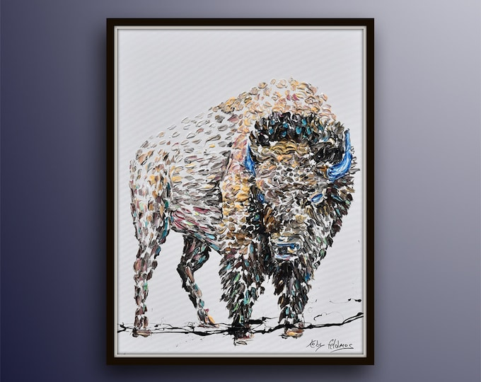 """Bison 40"""" original Painting Animal Oil Painting on Canvas, thick layers, modern art, handmade by Koby Feldmos"""