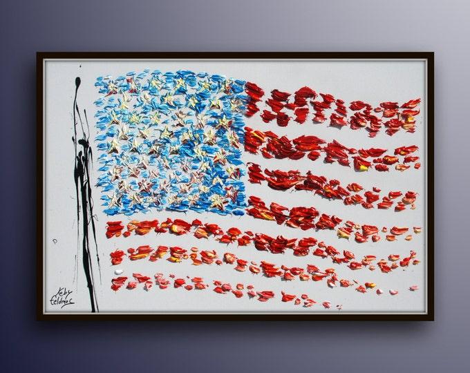 "American Flag 40"" USA flag, United states of america, original oil painting on canvas, handmade by Koby Feldmos"