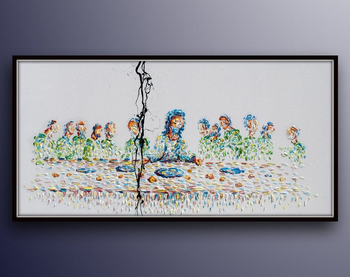 """Last Supper Painting 55""""  -- INCREDIBLE SUPER AMAZING -- Jesus Cross Christianity Religious Christian Bible  oil painting ,  by Koby Feldmos"""
