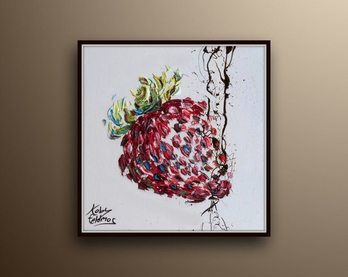"""Strawberry 25"""" , oil painting, red painting fruit, thick layers, Original Hand made oil painting on canvas, By Koby Feldmos"""