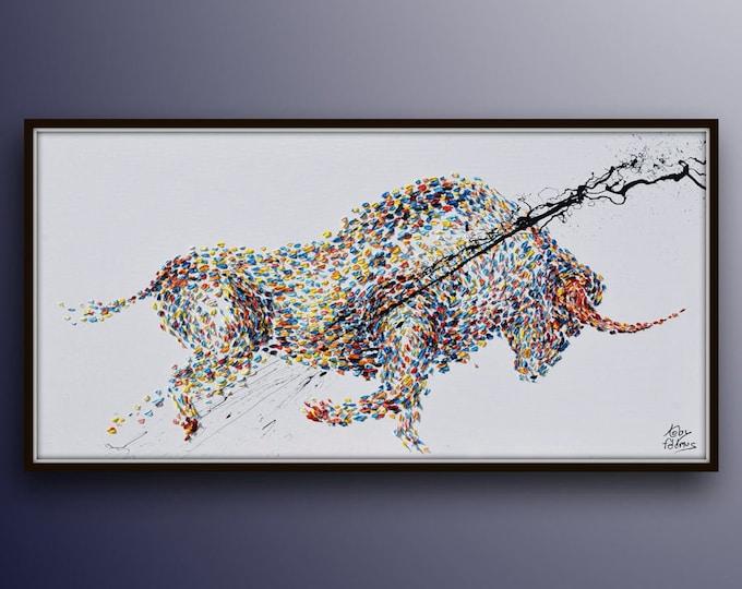 "Painting 67"" Animal Bull Painting Abstract  Painting on canvas, Original & HandMade Oil painting ,  Koby Feldmos"