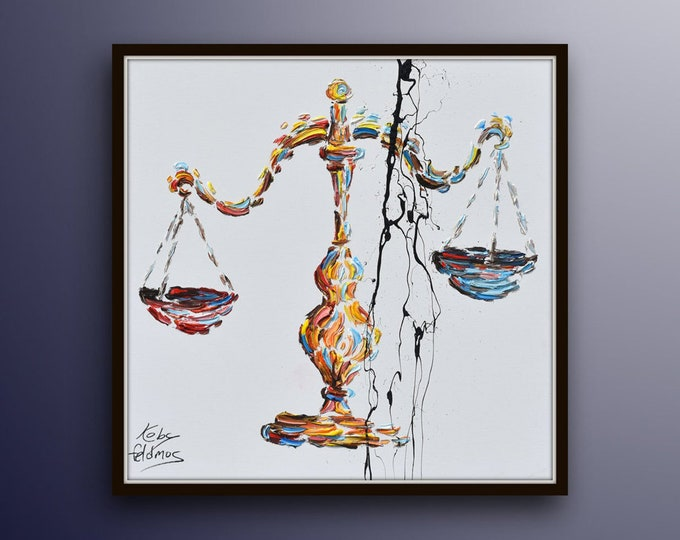 """Office decor 35"""" painting scales of justice, libra astrology zodiac sign for lawyers office, lawyer gift, original hand made by Koby Feldmos"""