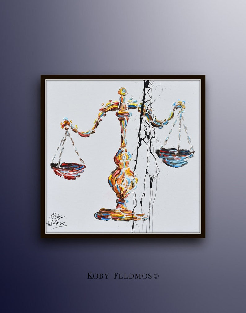 Office decor 35 painting scales of justice libra image 1