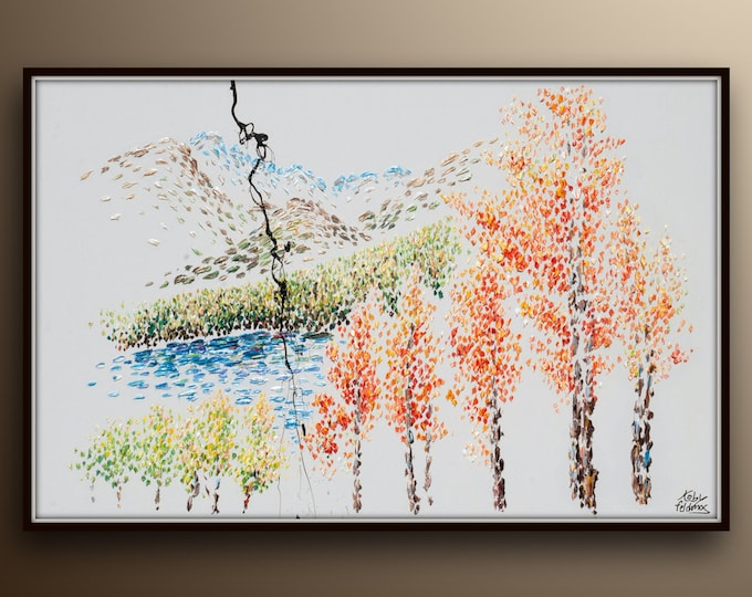 """Beautiful Extra large oil painting 60x40"""" Warm and cold tones, oil on canvas, trees, mountains and lake - By Koby Feldmos"""