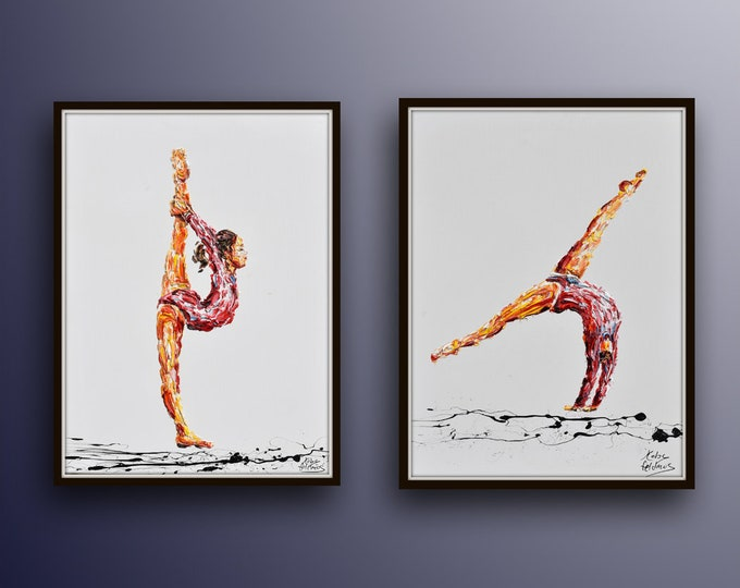 "Ballerina painting set 30"" - original oil painting on canvas beautiful composition of 2 ballerinas dancing, bu Koby Feldmos"