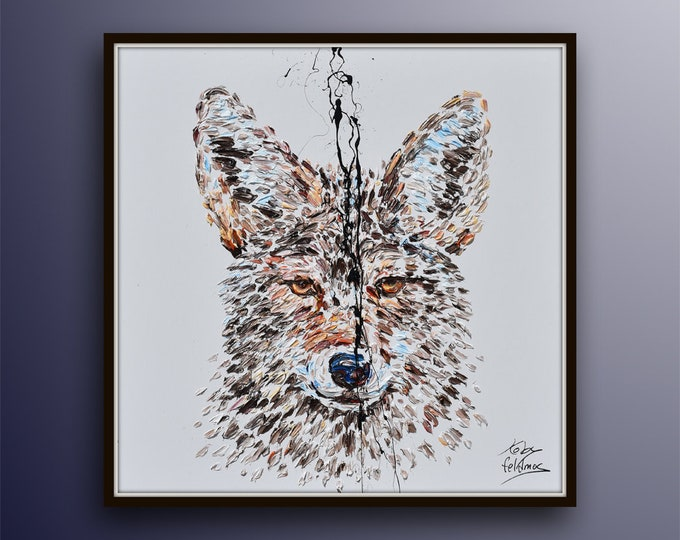 """Coyote Painting 35"""" Animal Abstract Painting on canvas, Original & Hand Made Oil painting , Modern Art , Express Shipping, By Koby Feldmos"""