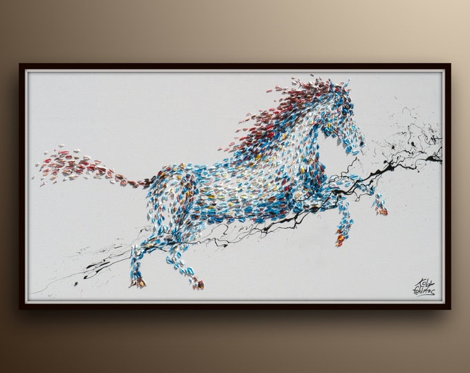 """Horse Painting 55"""" Horse Painting Animal, Original handmade oil painting on canvas, Modern Style, By Koby Feldmos"""