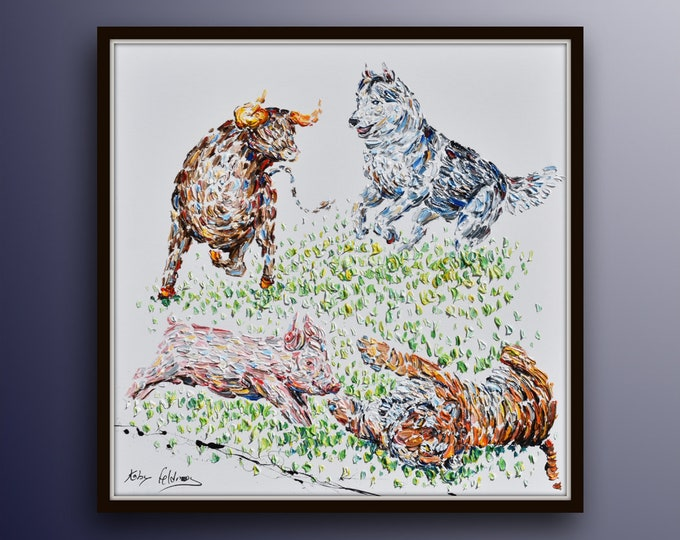 Animals painting - beautiful 4 animals playing in the grass, oil on canvas, thick texture, express shipping, by Koby Feldmos