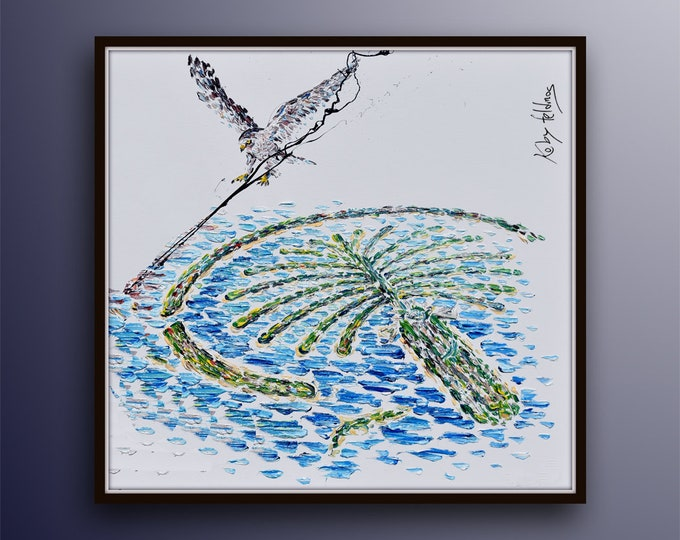 Abu Dhabi Palms Island 40/40 & Eagle Logo original oil painting on canvas, United Arab Emirates , by Koby Feldmos