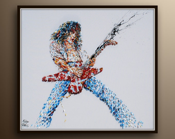 """Rock Star 35"""" original oil painting on canvas, Rich texture, electric guitar, figure, music, music painting, handmade by Koby Feldmos"""