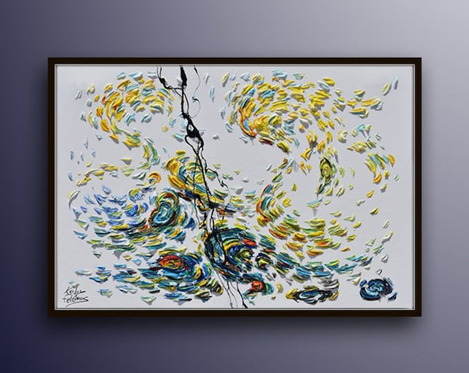 """Abstract Painting 40"""" , Abstract Painting, Original  Hand made, Unique Art, Canvas Painting By Koby Feldmos"""