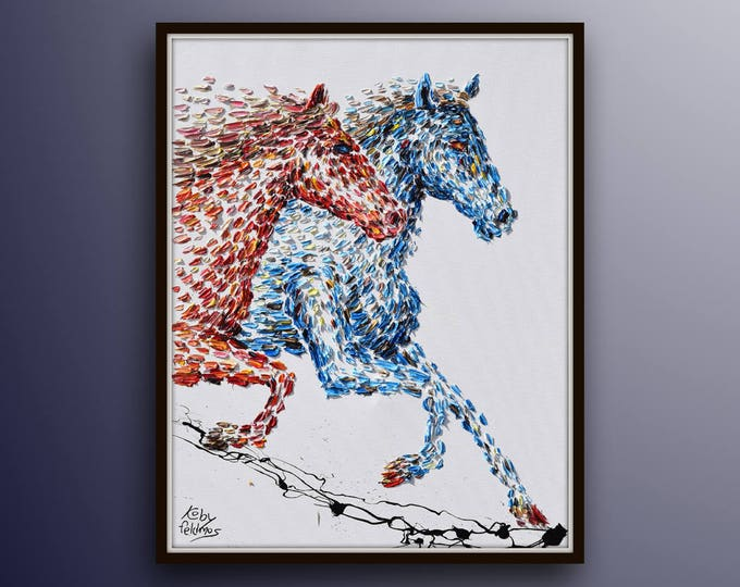 """Riding Horse Painting 40"""" Beautiful red blue horse riding together, Relaxing painting for living room gift idea animals by Koby Feldmos"""