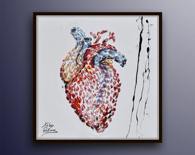 """Heart Painting 25"""" Gift for heart surgeon, Cardiologist,, Department of Cardiology gift idea office painting , doctor painting clinic,"""