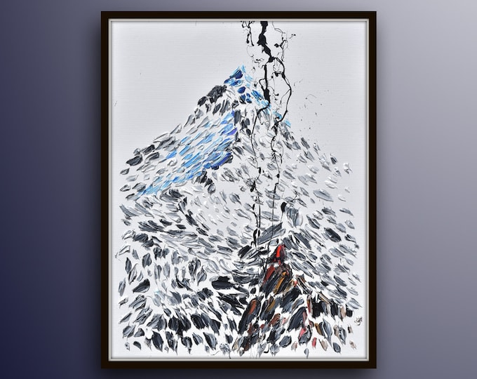 """Abstract Snow Mountain 40""""  Original oil painting on canvas, Beautiful Modern black and white with touches of blue and reds By Koby Feldmos"""