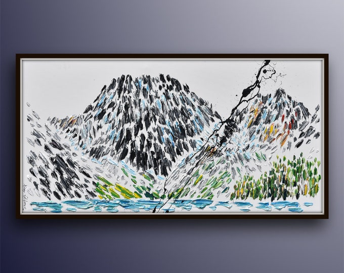 """Abstract mountain 55"""" original oil painting on canvas, very! impressive artwork of Mountains near a lake, oil on canvas, by Koby Feldmos"""