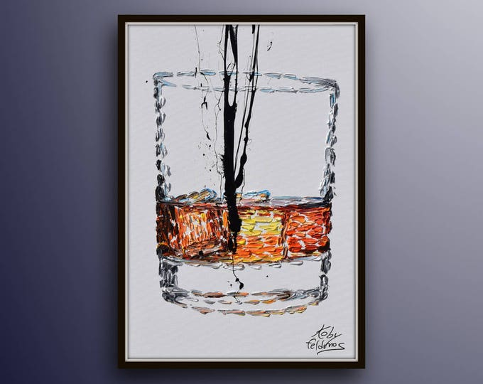 """Bourbon Whiskey 40"""" Alcohol painting beautiful glass of whiskey can be for an office for a restaurant or bar as a gift idea drink beverage"""