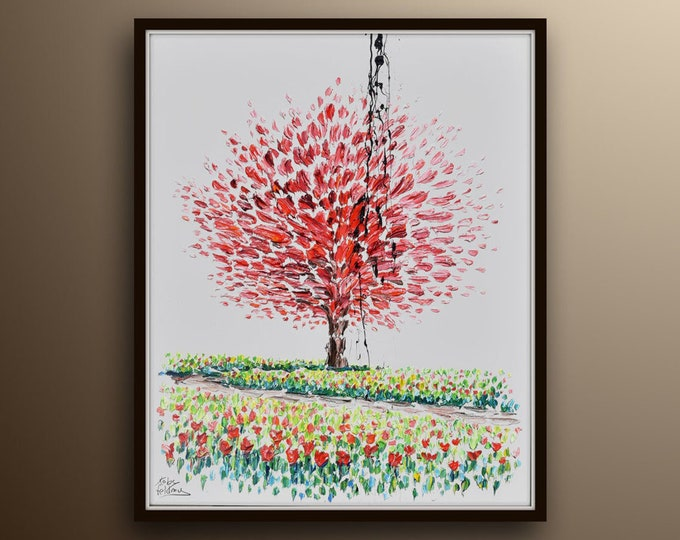 """Tree in a field 40"""" Amazing looks of a painting in a field, great composition, lovely art painting by Koby Feldmos"""