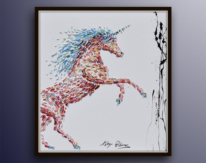 """Unicorn 40"""" - original oil painting on canvas, thick texture, beautiful composition,  by Koby Feldmos"""